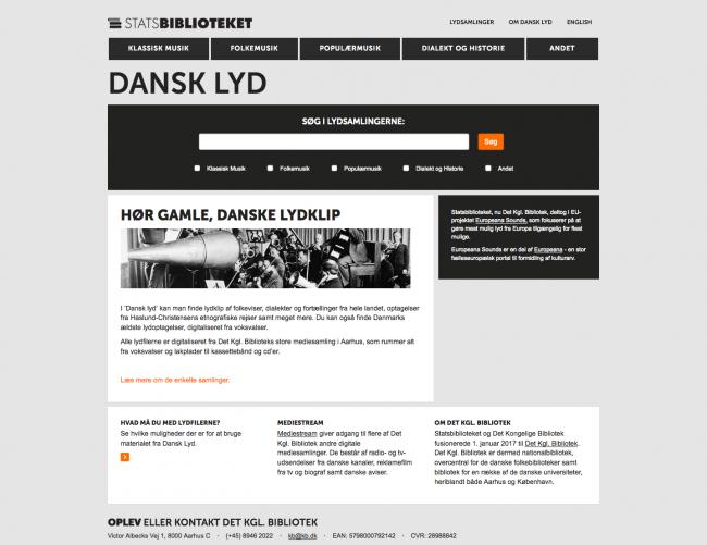 dansklyd.statsbiblioteket.dk - screenshot.