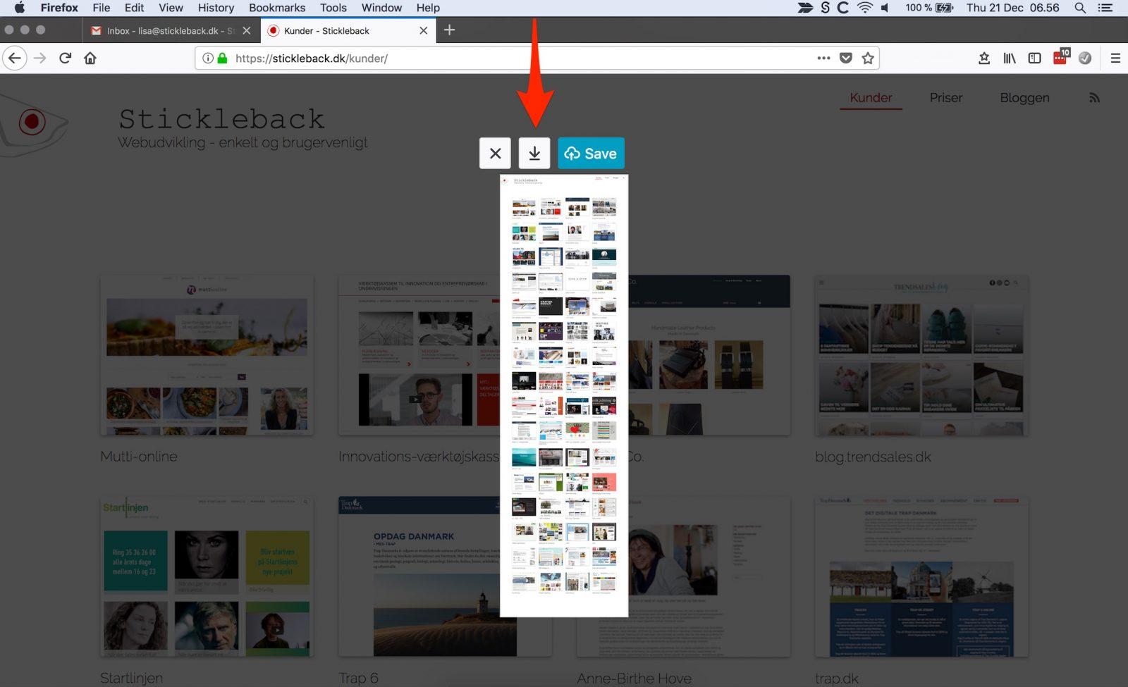 Firefox: download screenshot.