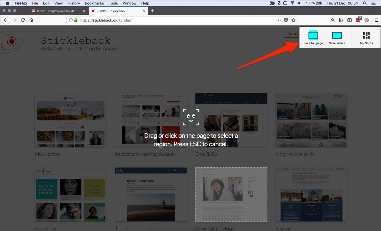 Firefox: tag et screenshot.