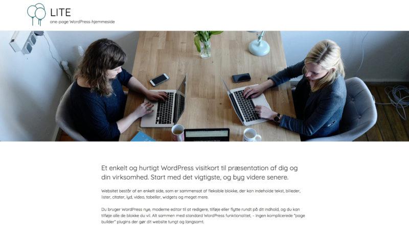Screenshot af hjemmeside med stort header-billede.