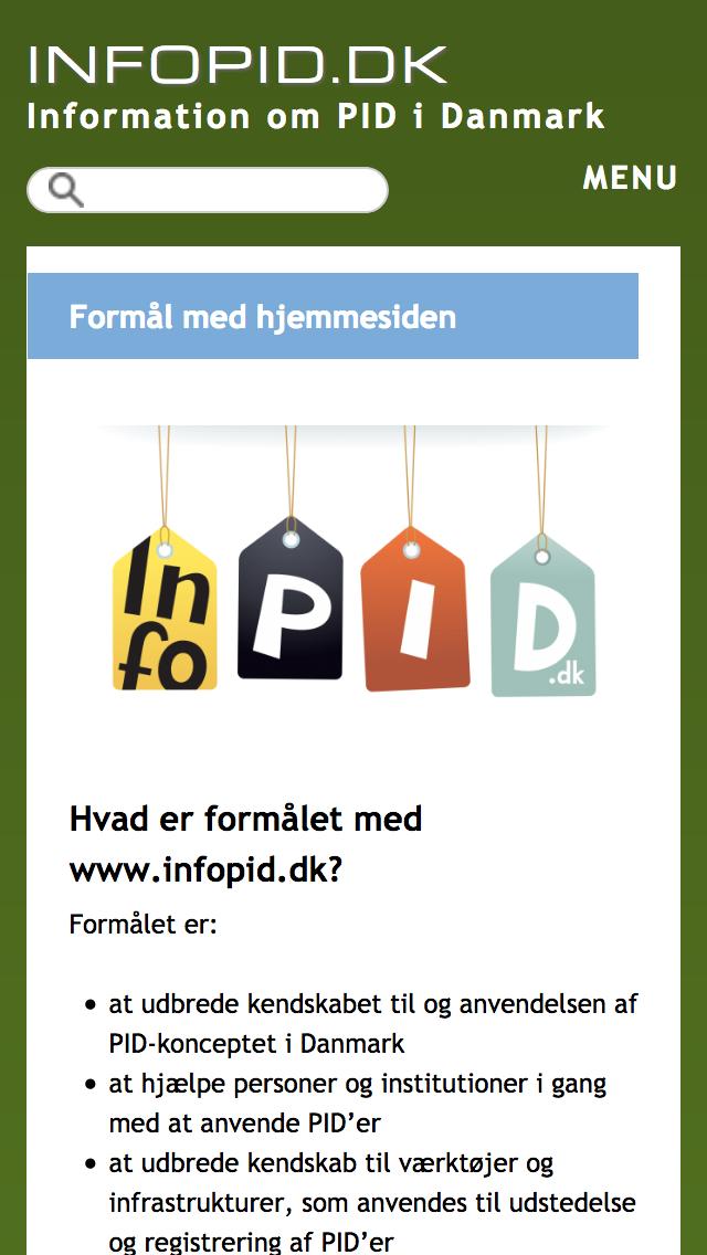 infopid.dk - smartphone version.