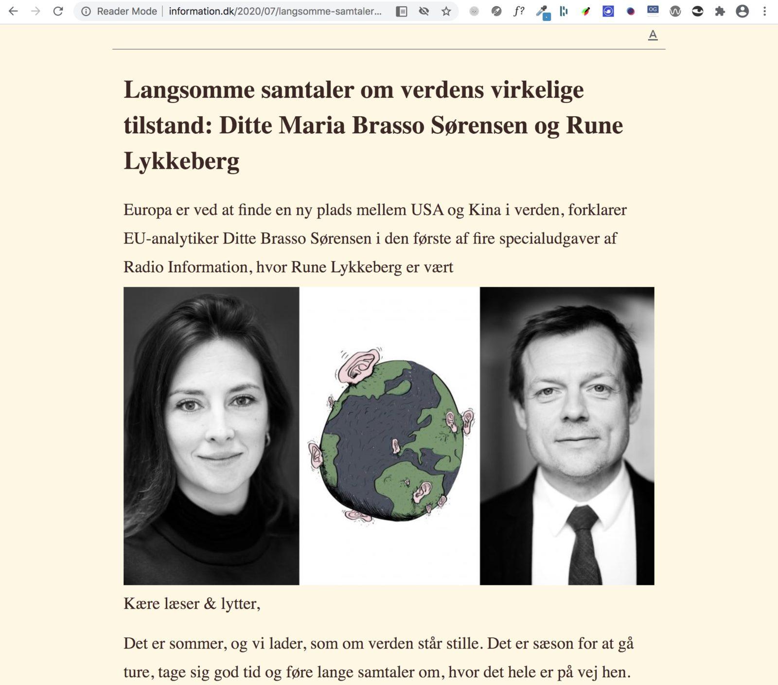 """Information.dk - artikel vist i """"Reader mode"""" med tilpasset skriftstørrelse og baggrundsfarve."""