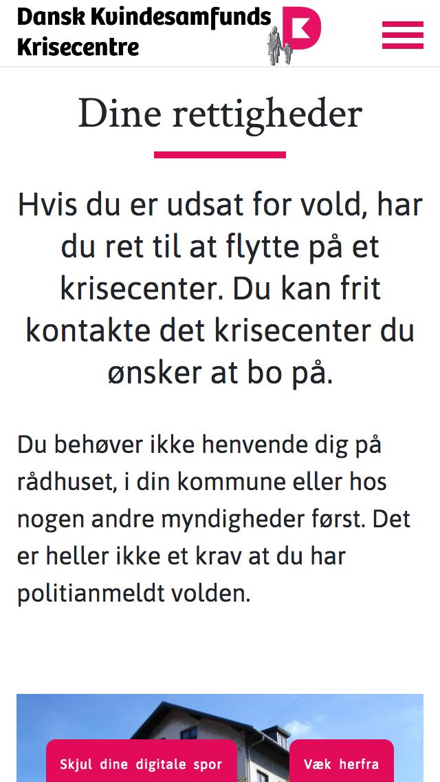 krisecentrene.dk - smartphone version.