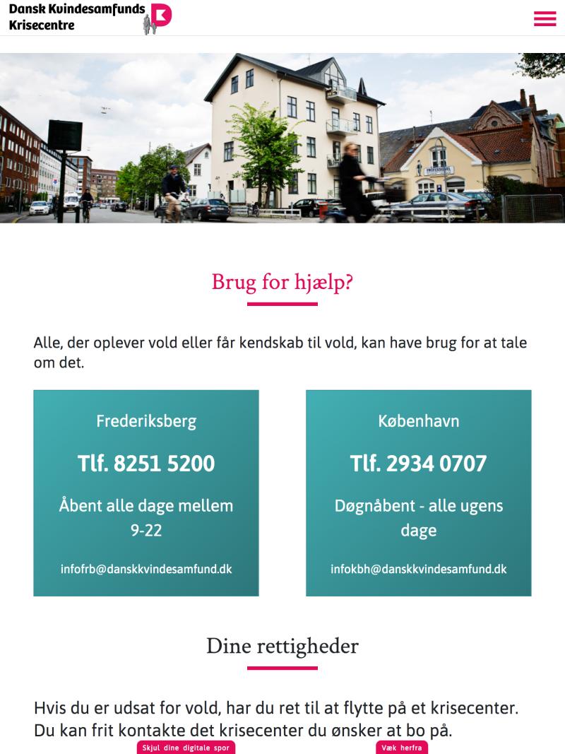 krisecentrene.dk - tablet version.