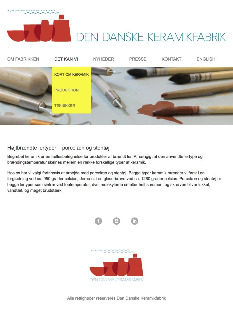 dendanskekeramikfabrik.dk - tablet version.