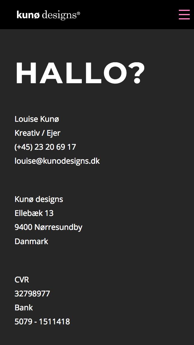 kunodesigns.dk - smartphone version.