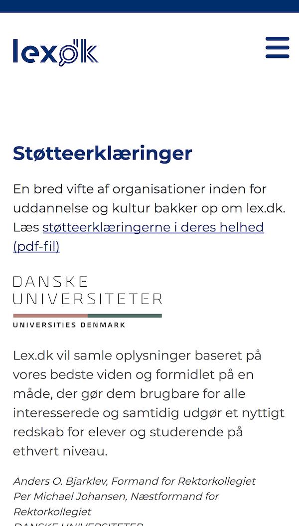 lex.dk screenshot smartphone.