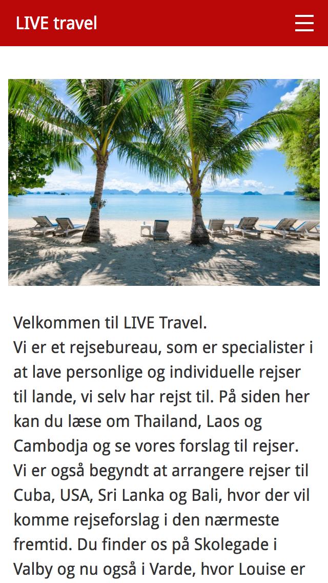 livetravel.dk - smartphone version.