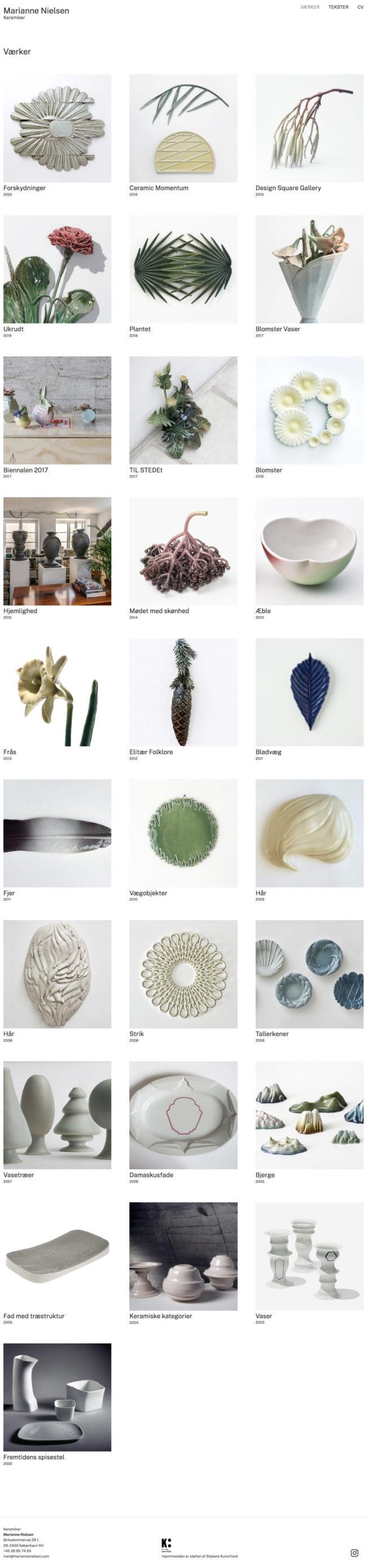 WordPress-site til keramiker Marianne Nielsen