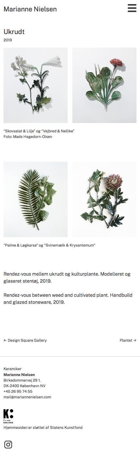 WordPress-site til keramiker Marianne Nielsen - smartphone