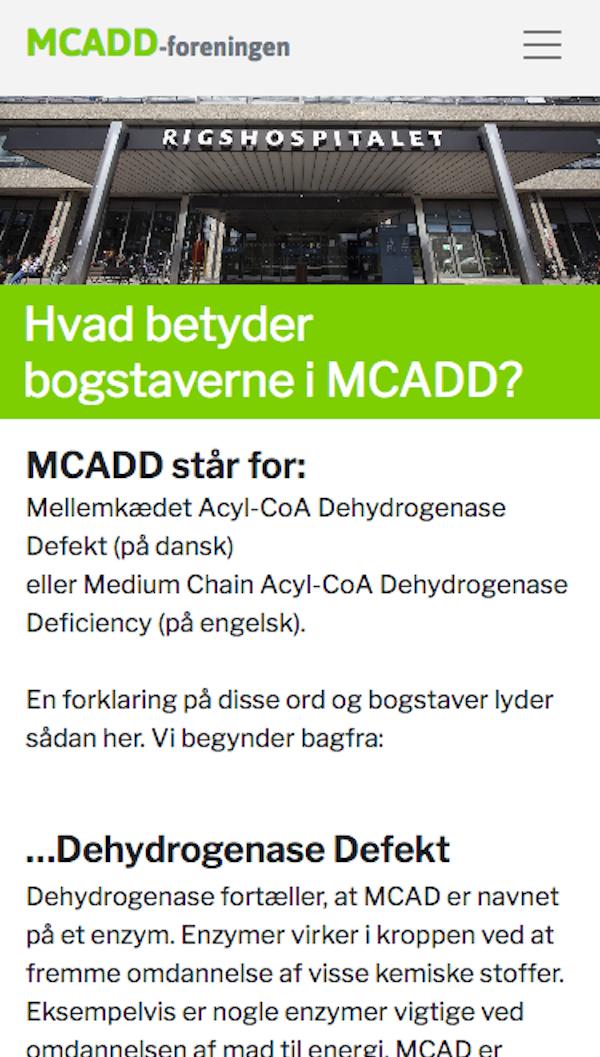 Mobil-udgaven af mcadd.dk - et WordPress website.