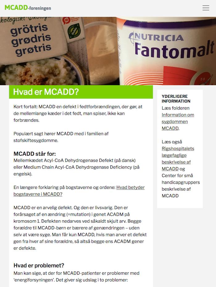 Tablet-udgaven af mcadd.dk - et WordPress website.