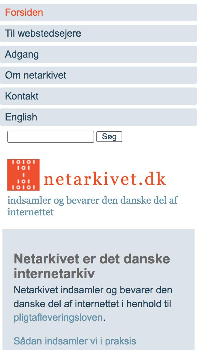 netarkivet.dk - smartphone version.