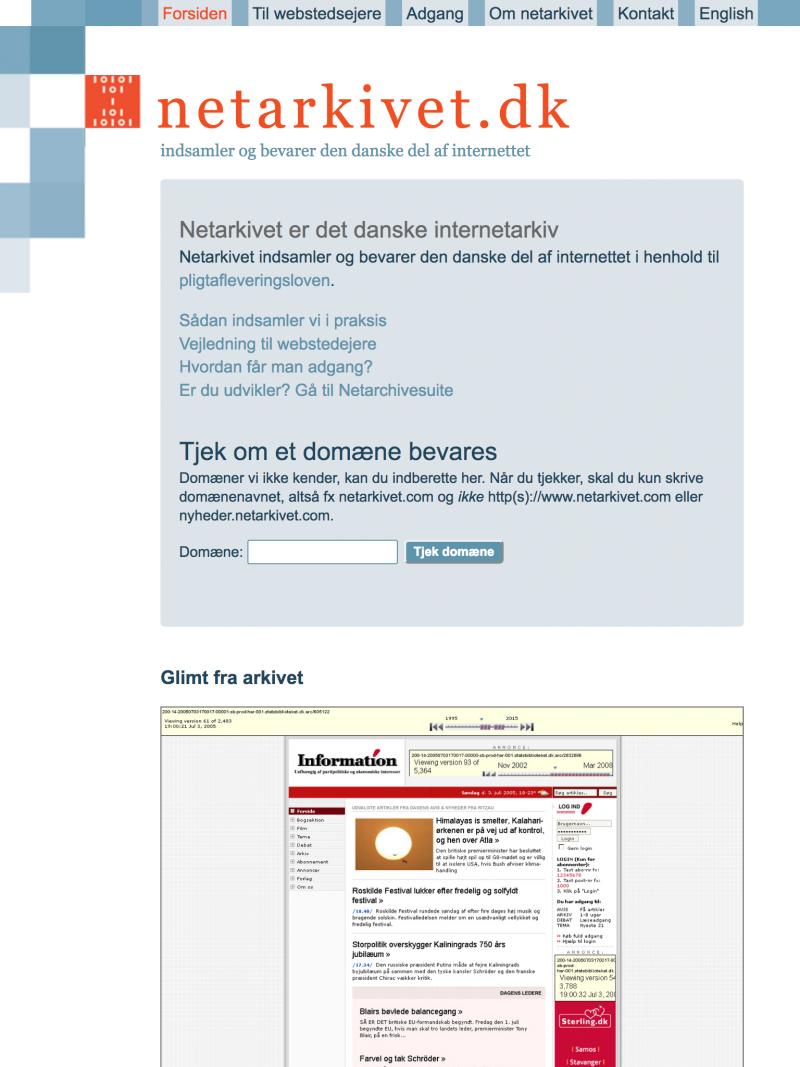 netarkivet.dk - tablet version.