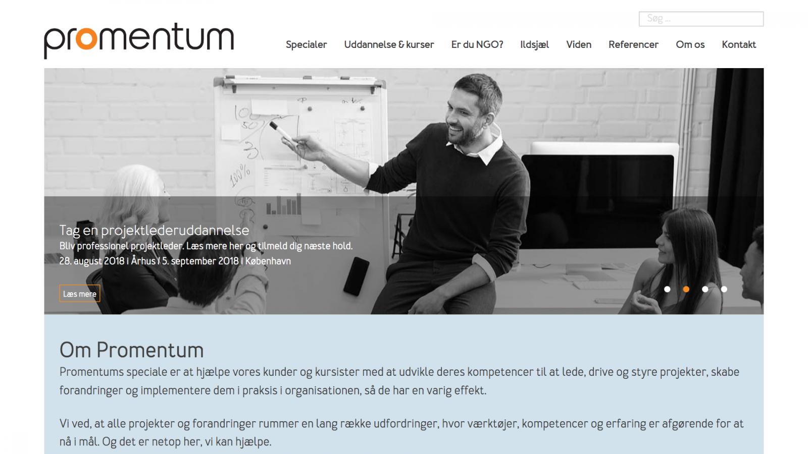 promentum.dk - desktop version.