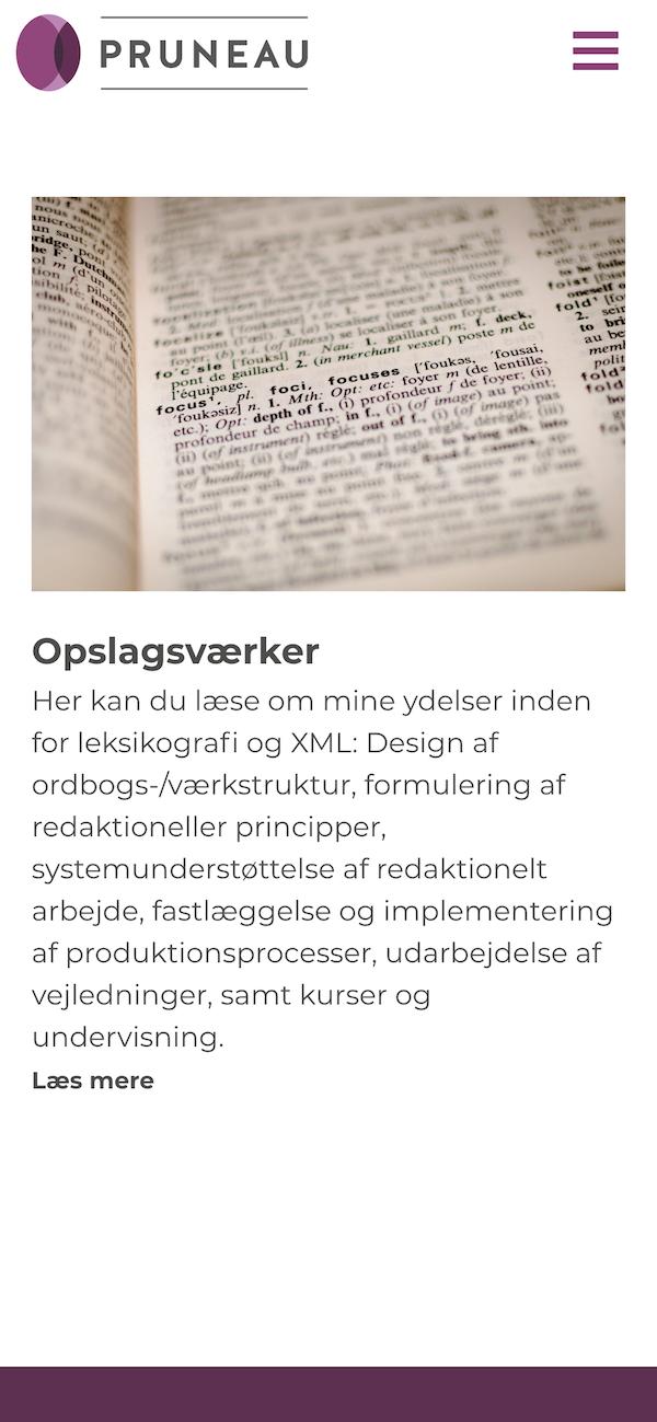 pruneau.dk - smartphone screenshot.