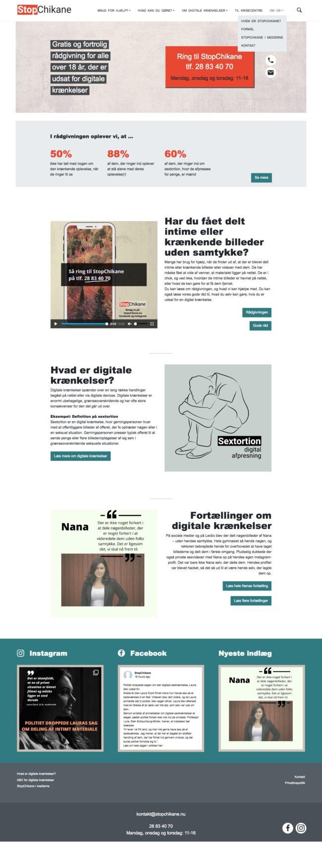 stopchikane.nu - screenshot, hele forsiden