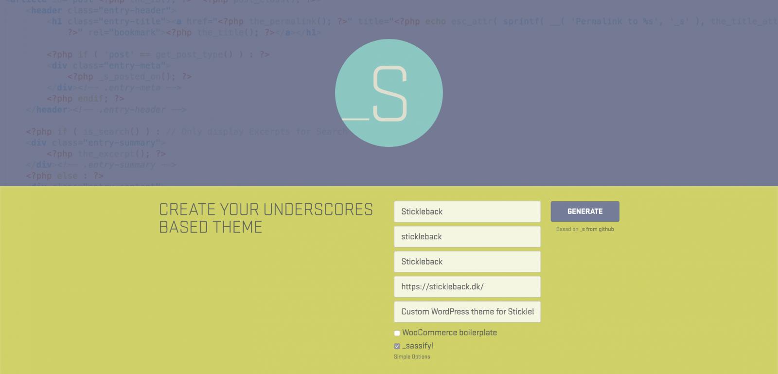 Tilpas og download en zip-fil med basis-temaet Underscores.